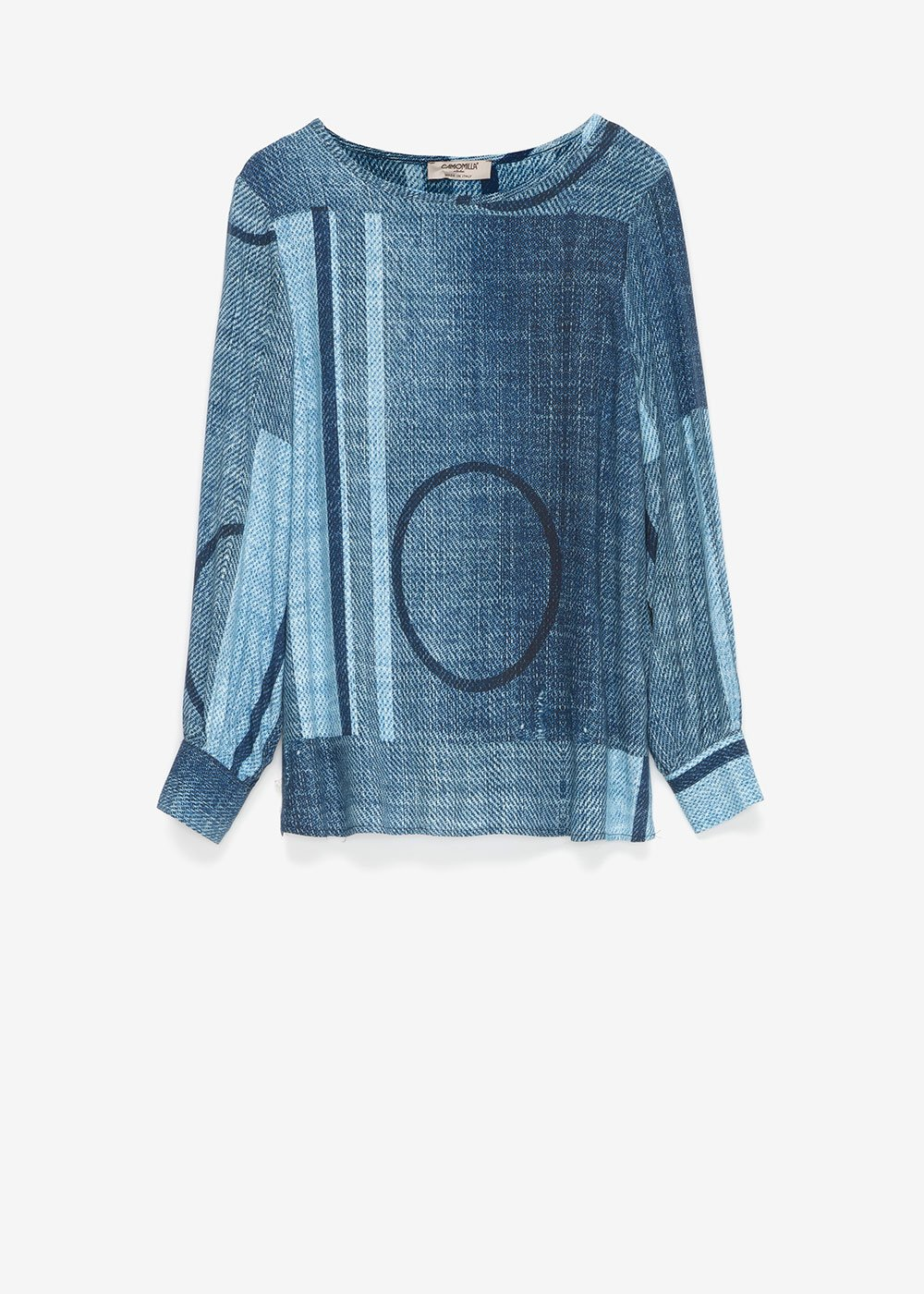 Sophie denim-effect t-shirt - Oltremare / Fog Multi - Woman