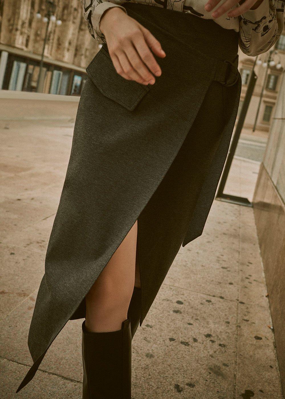 Gennifer skirt with asymmetric cut - Grey Melange - Woman