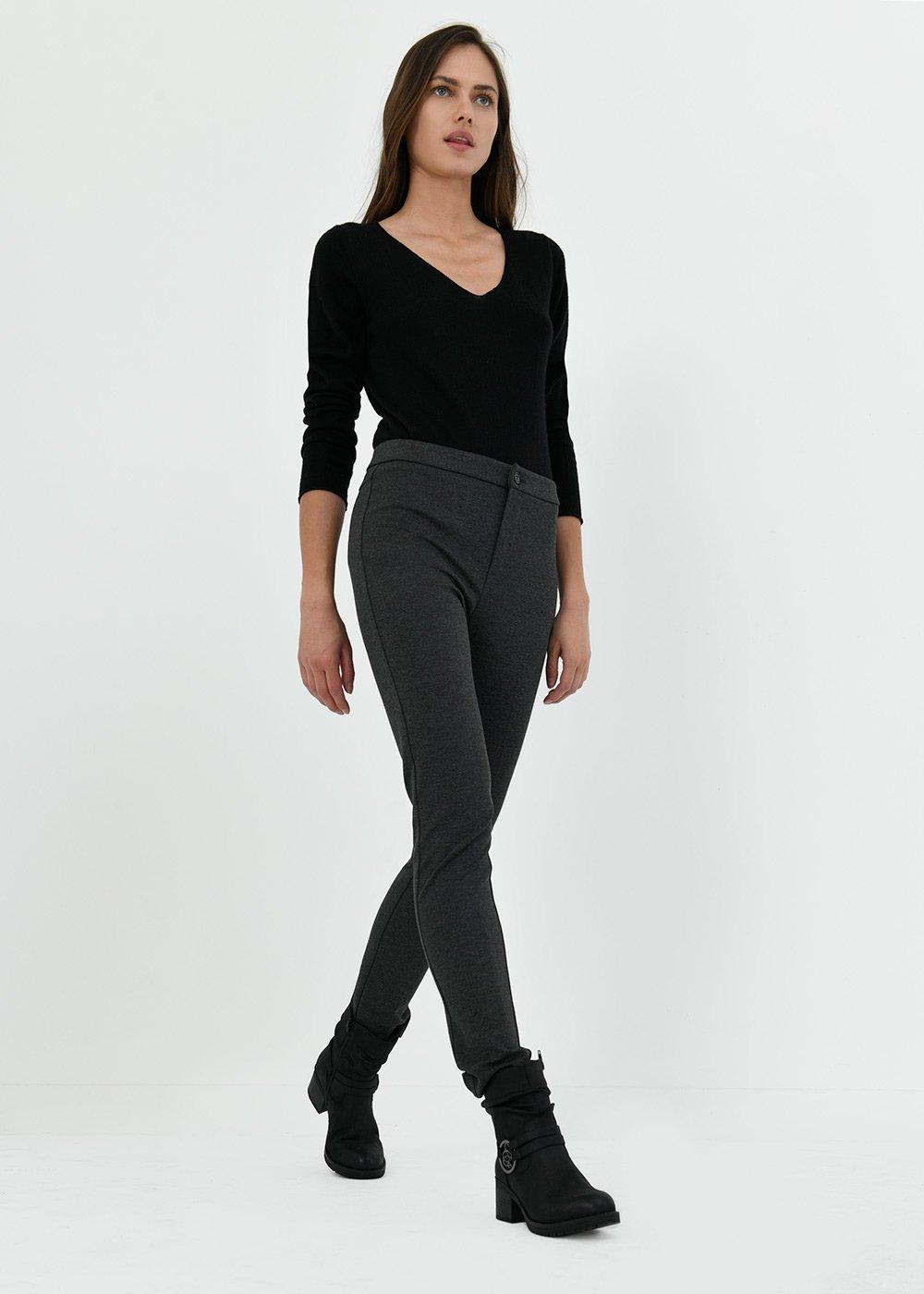 Kellysche trousers in Milano stitch - Grey Melange - Woman