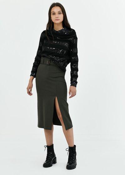 Gaya pencil skirt with waist belt