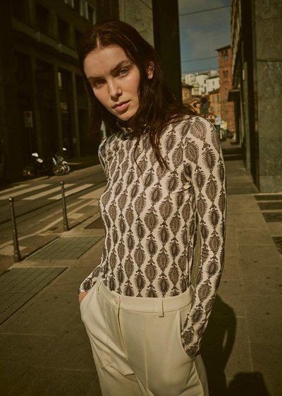 Stella high-necked patterned t-shirt