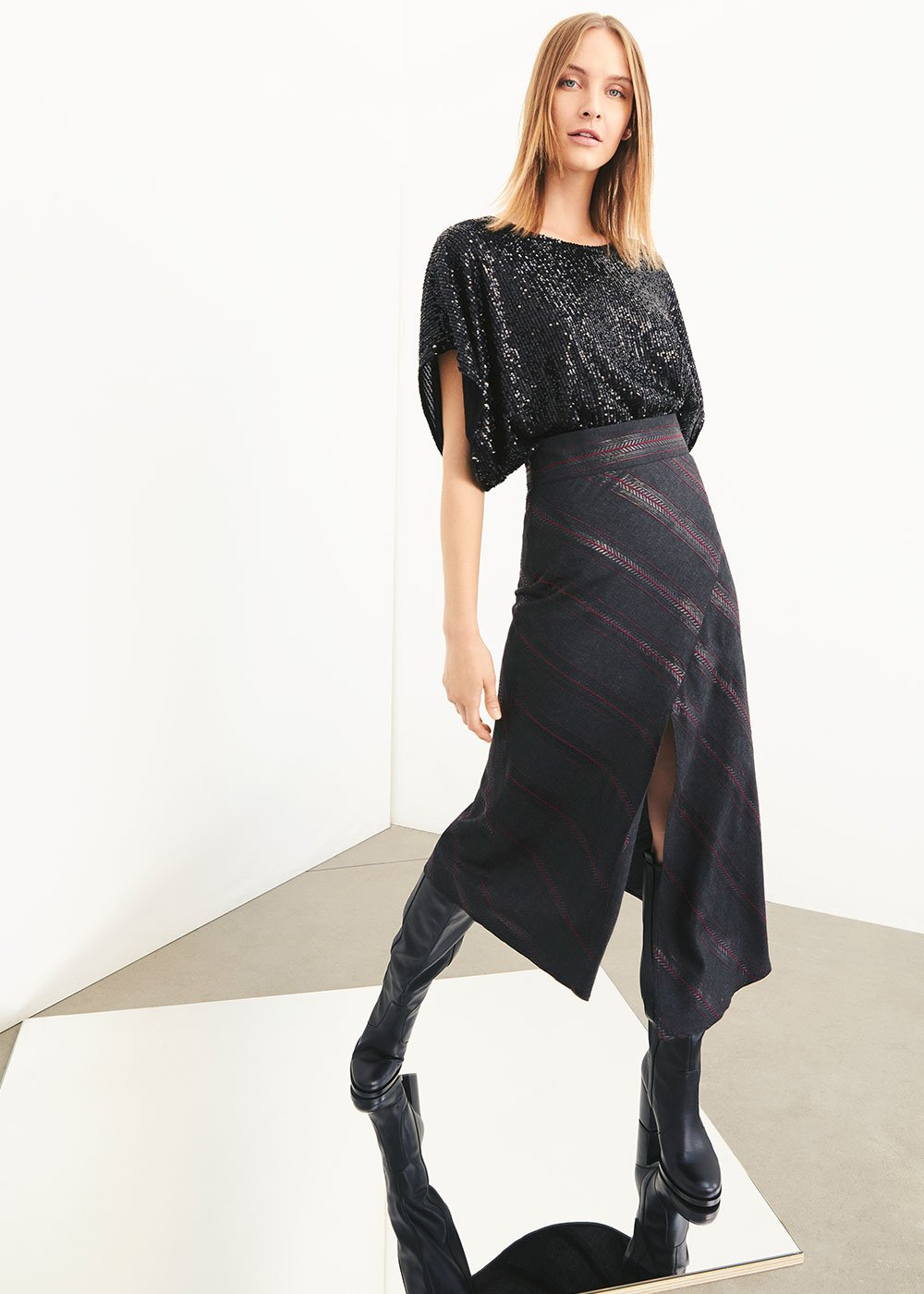 Georgia asymmetric striped skirt - Black /  Purple Multi - Woman