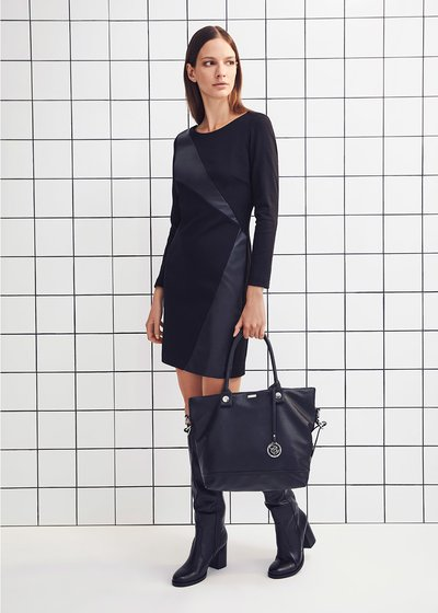 Scarlett dress with faux-leather insets