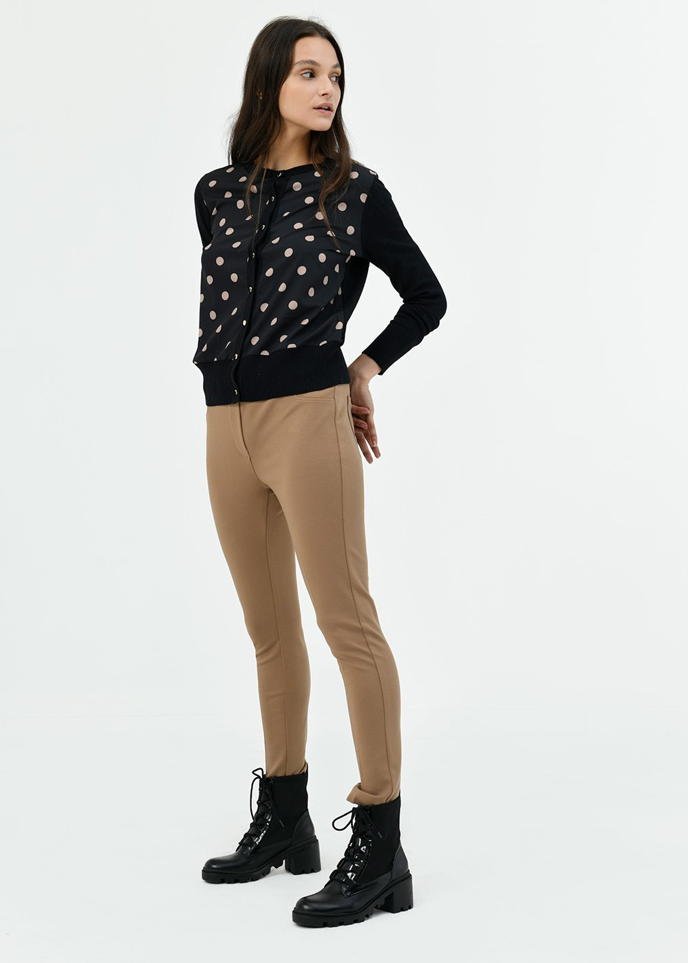 Kelly leggings with elastic waistband - Brown - Woman
