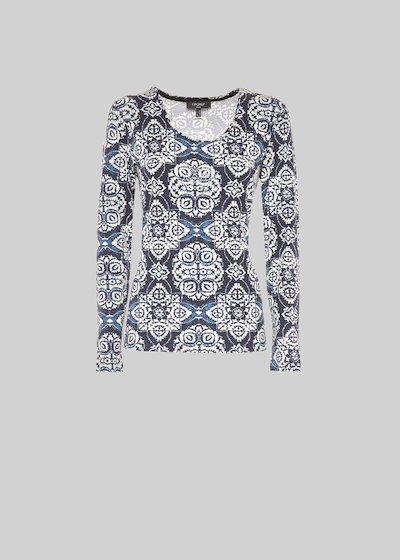 Maglia Milky all over print e micro strass