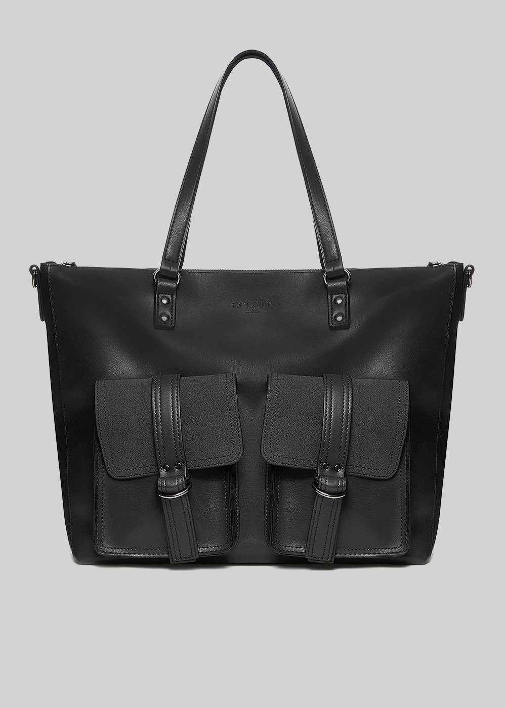 Borah bag in faux leather with pockets and removable shoulder strap - Black