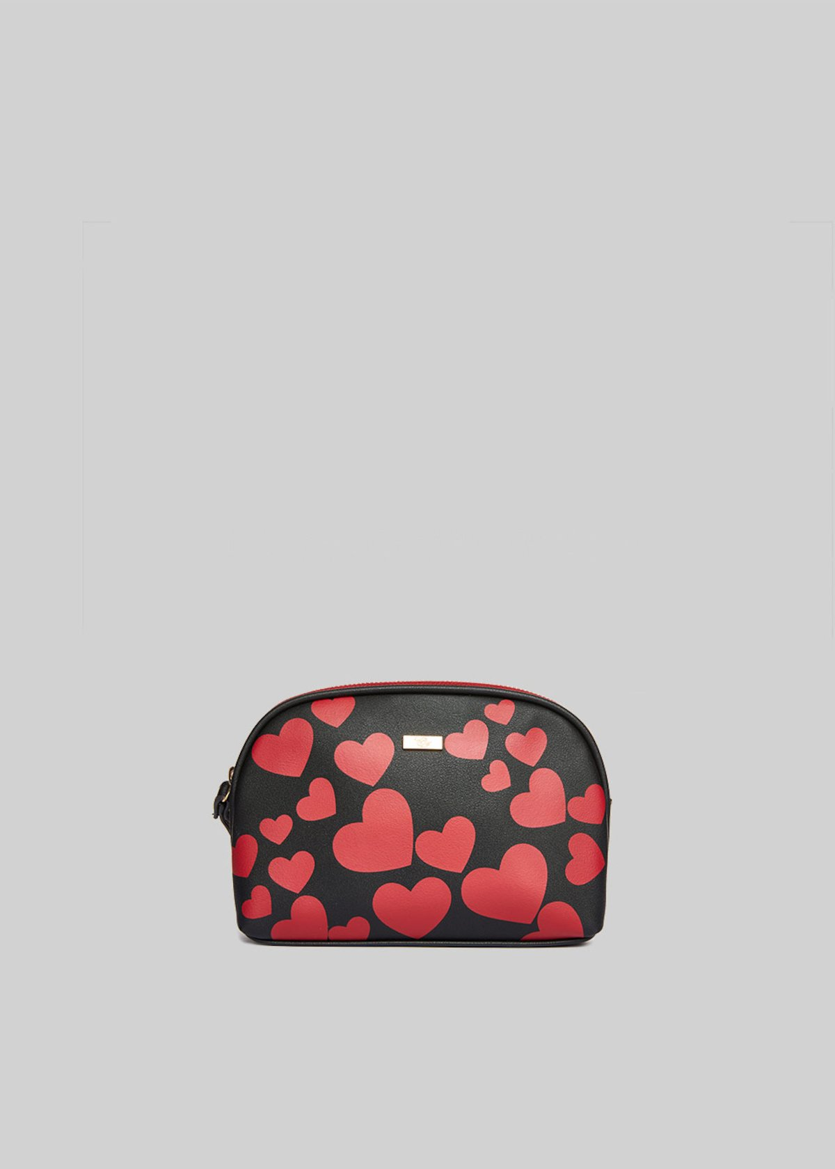 Faux leather Beauty Benny with heart print - Black / Chili / Fantasia