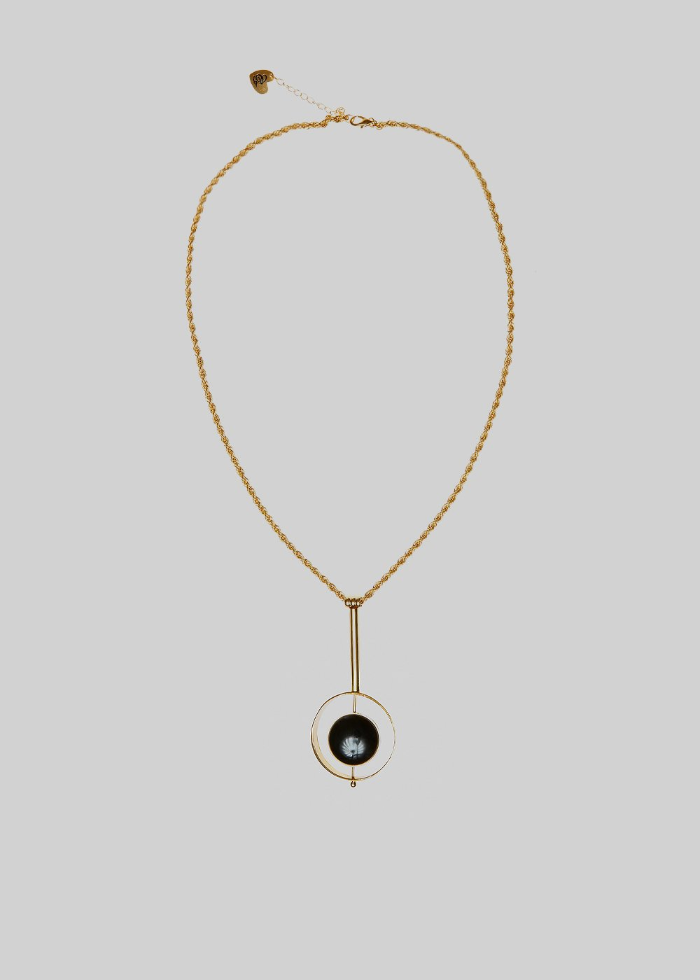 Creamy Metal Necklace with round circle detail - Black