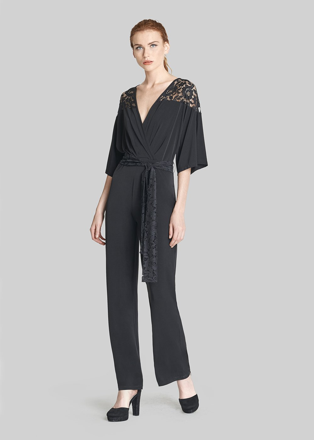Taiger jersey jumpsuit with 3/4 sleeves - Black