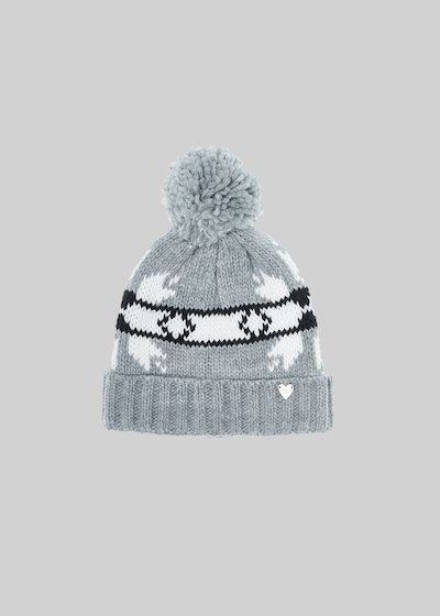 Cady knitted hat with bow and pompom pattern