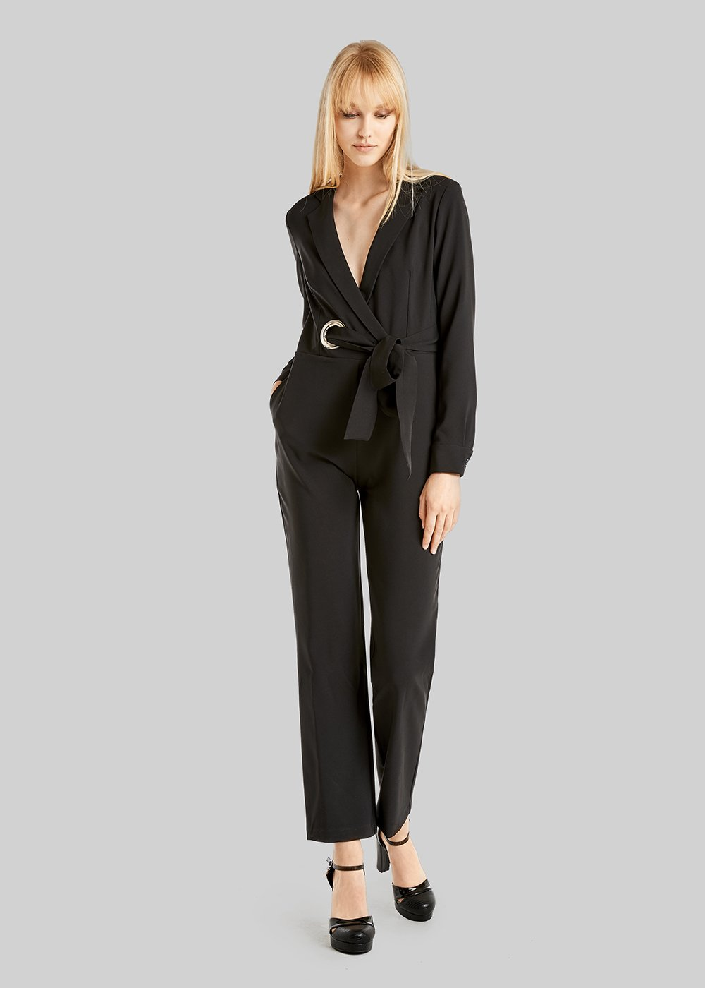 Tracy crépe jumpsuit jacket effect with crossover collar
