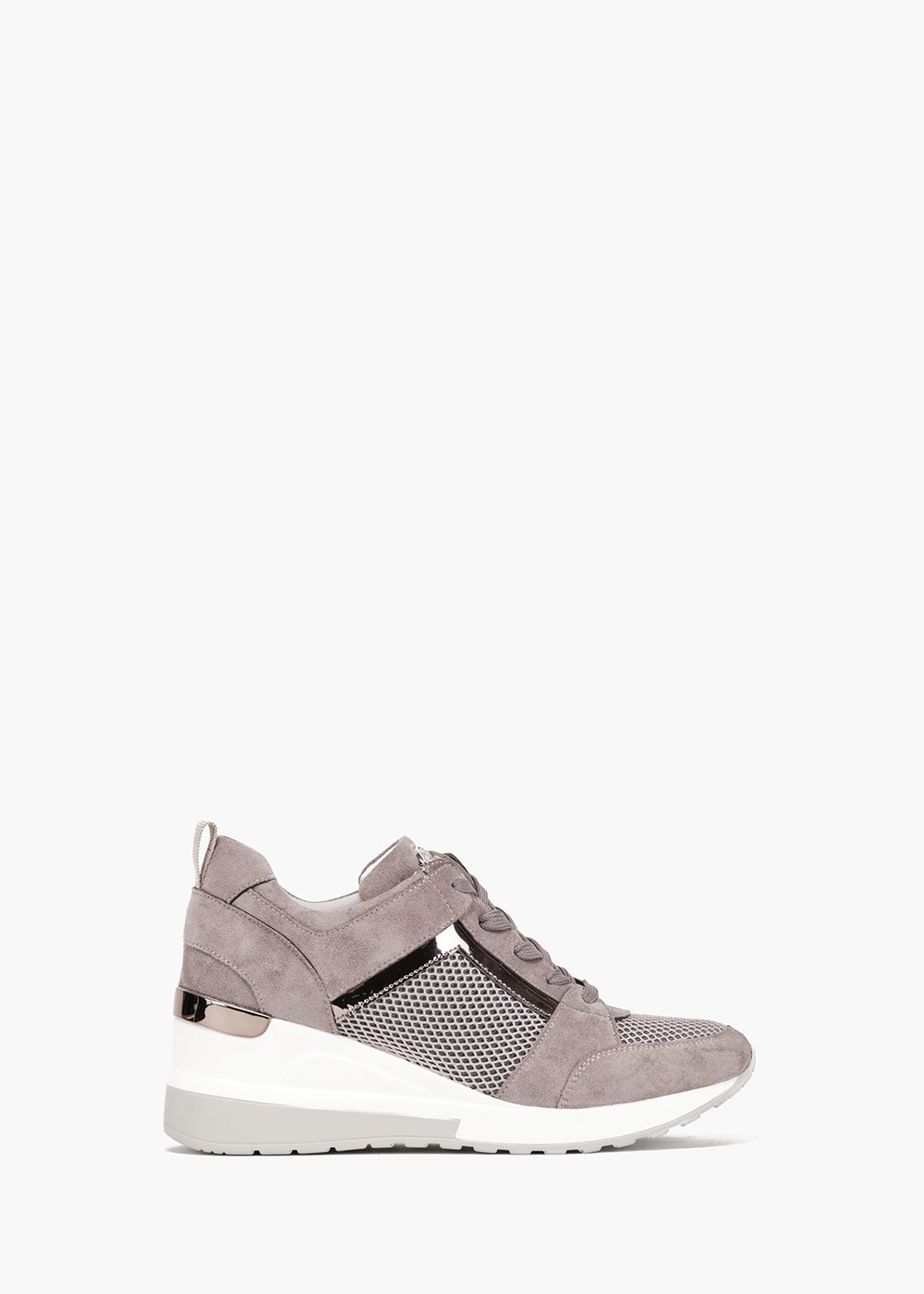 Gym shoes Steal in eco suede with net detail - Grey - Woman