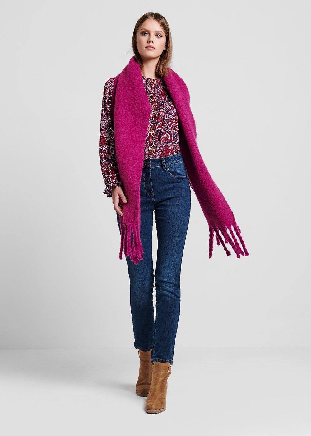 Maxi sciarpa in lana cotta con frange - Magnolia - Donna