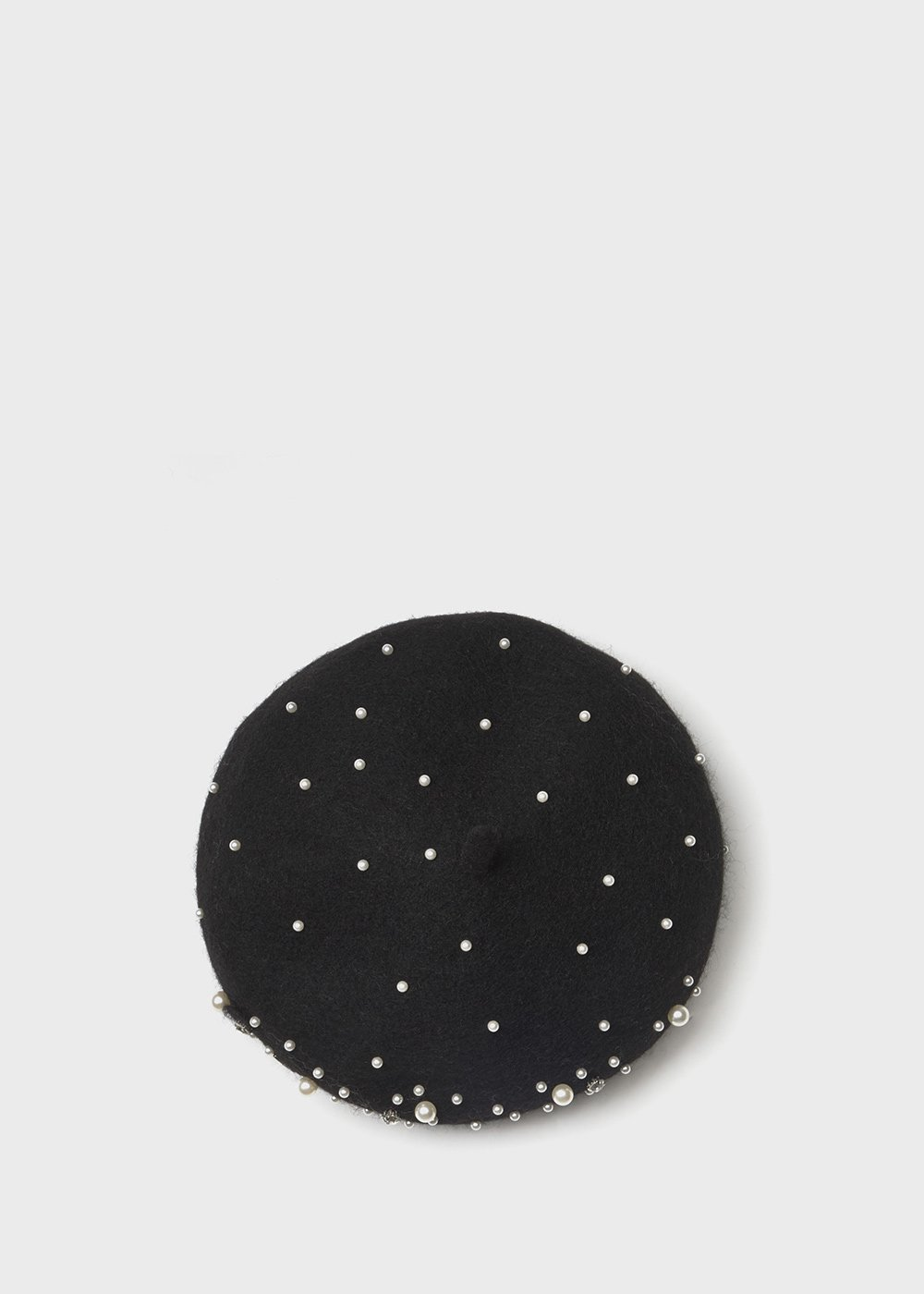Cahory wool beret with pearls - Black - Woman