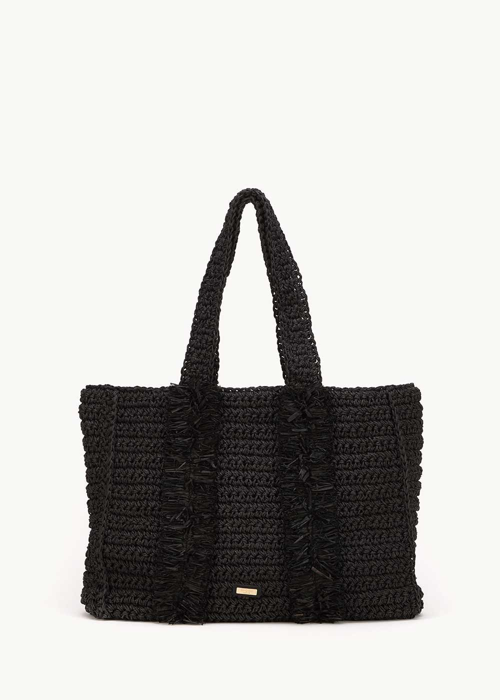 Brenda raffia shopping bag - Black - Woman