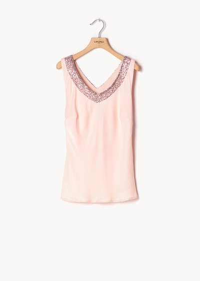 Top basic Tiziano con paillettes