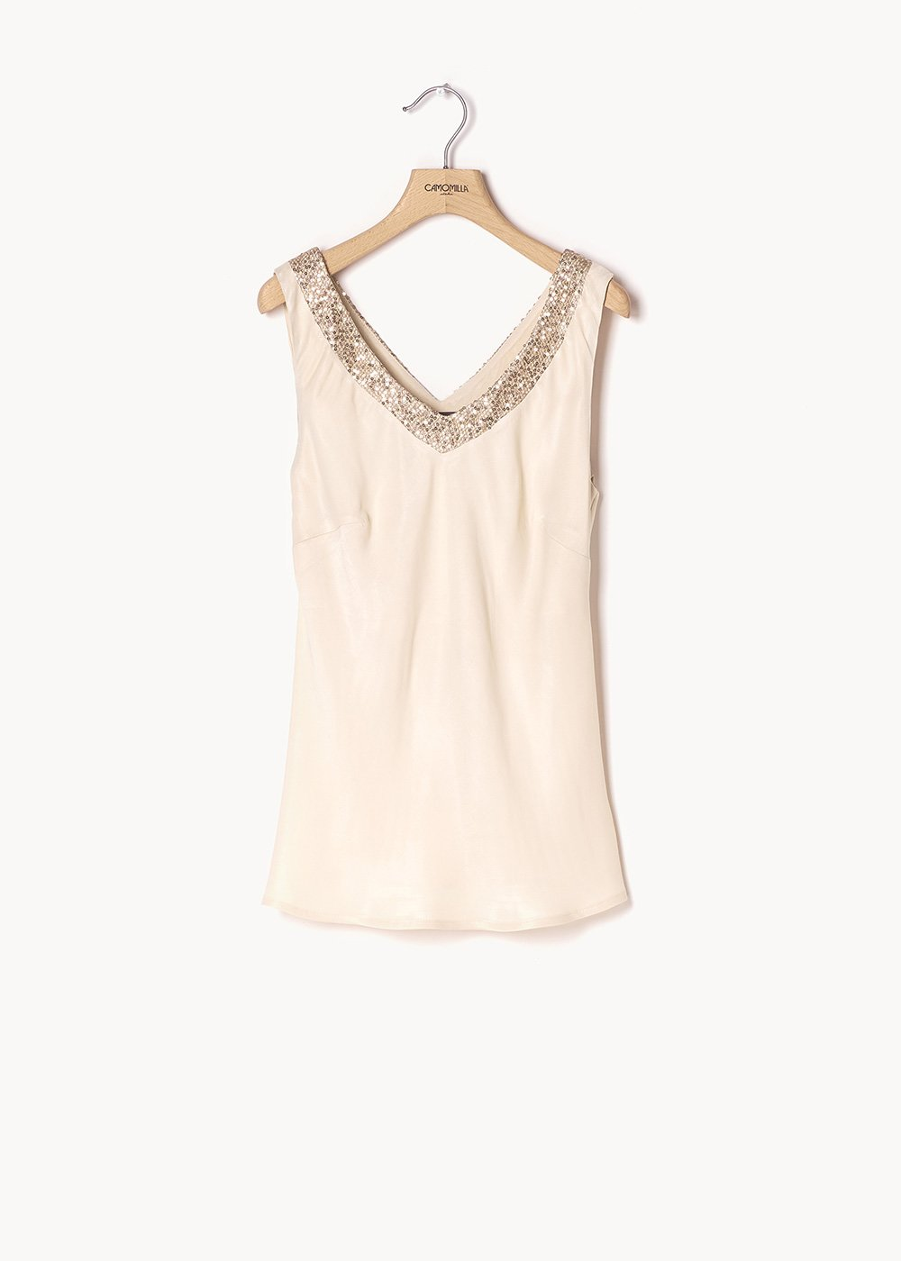 Tiziano basic top with sequins - Ginger - Woman