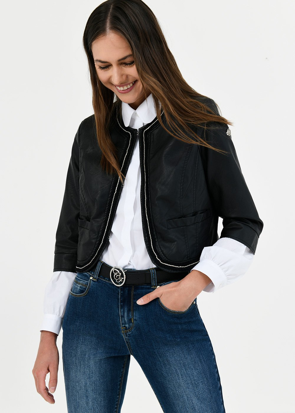 Clod faux-leather shrug - Black - Woman