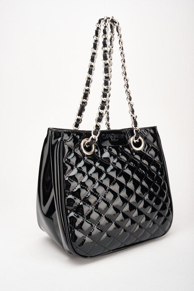 Mini Camo girl patent-leather shopping bag - Black - Woman