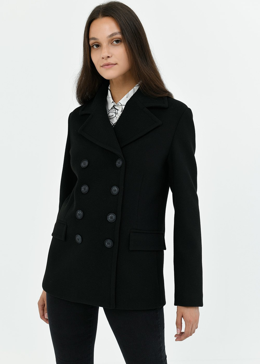 Ciril coat with lapel - Black - Woman