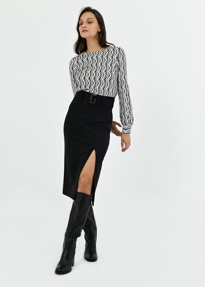 Gaya pencil skirt with waist belt