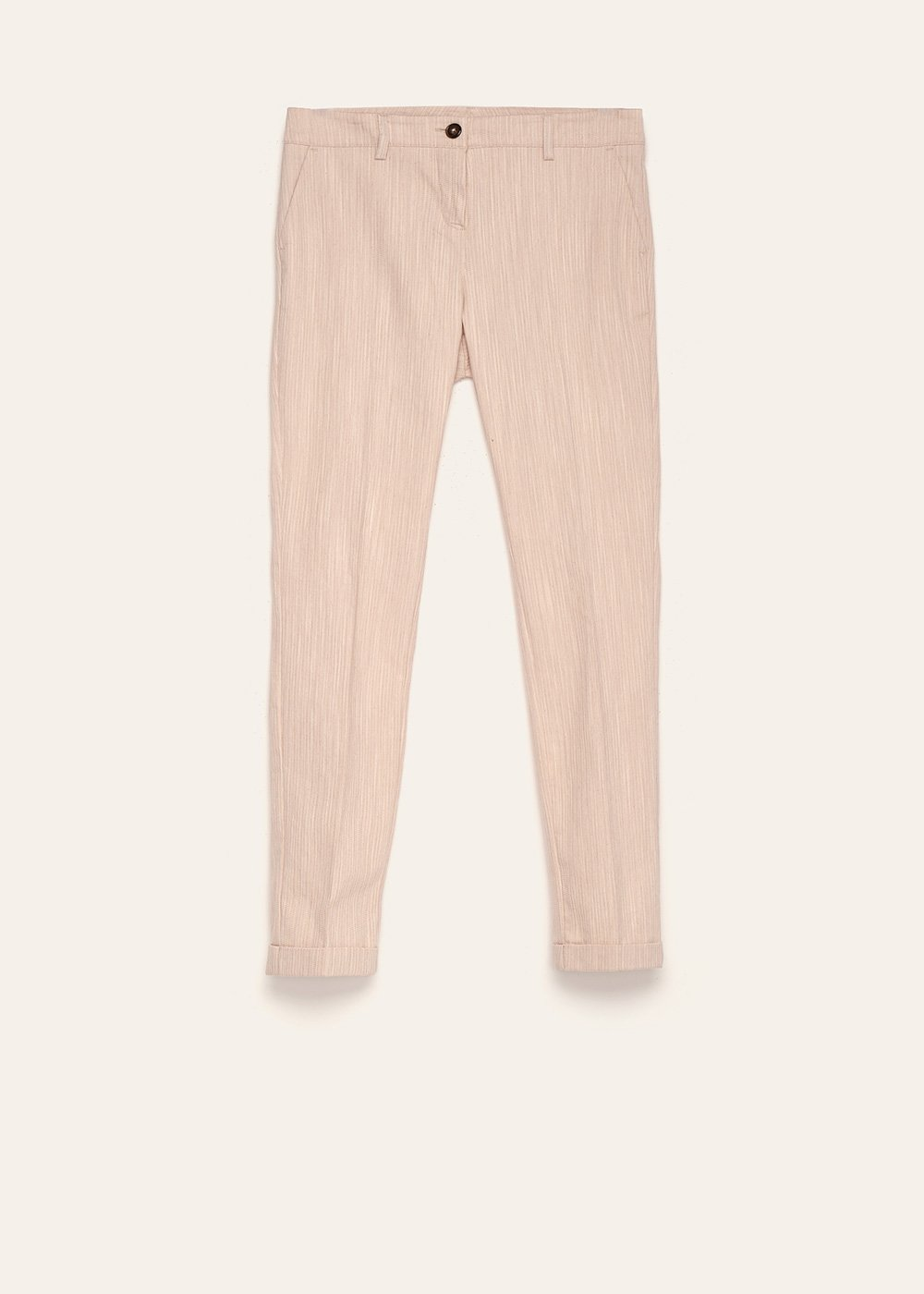 Bella cotton trousers with striped effect - Light Beige - Woman