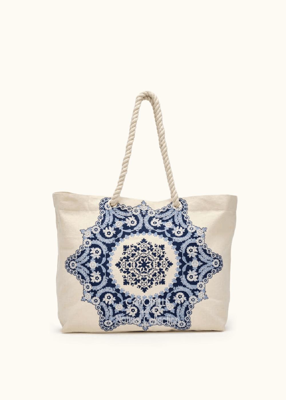 Brik canvas shopping bag with front print - Medium Blue - Woman
