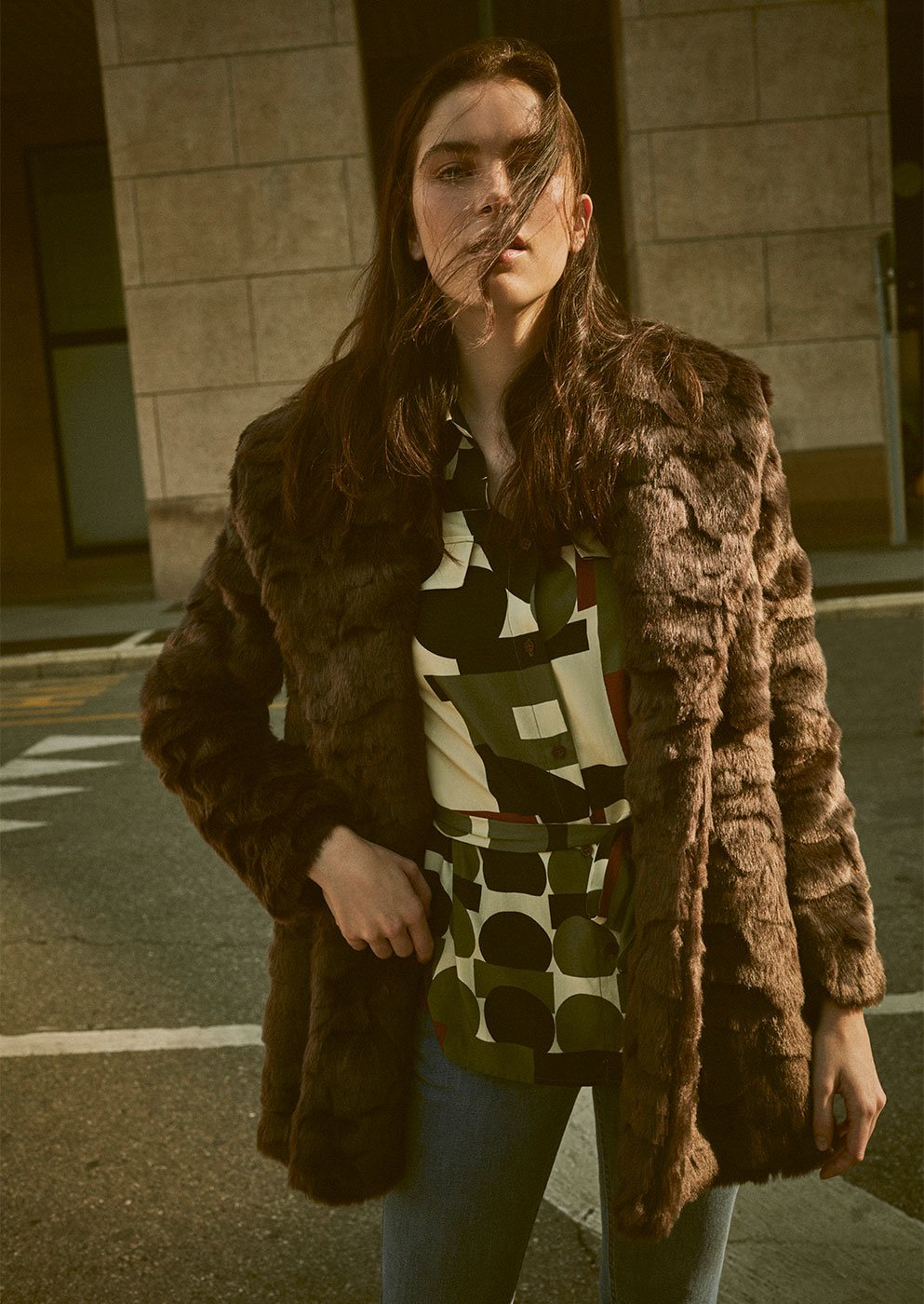 Grays lasered faux fur coat - Wood - Woman