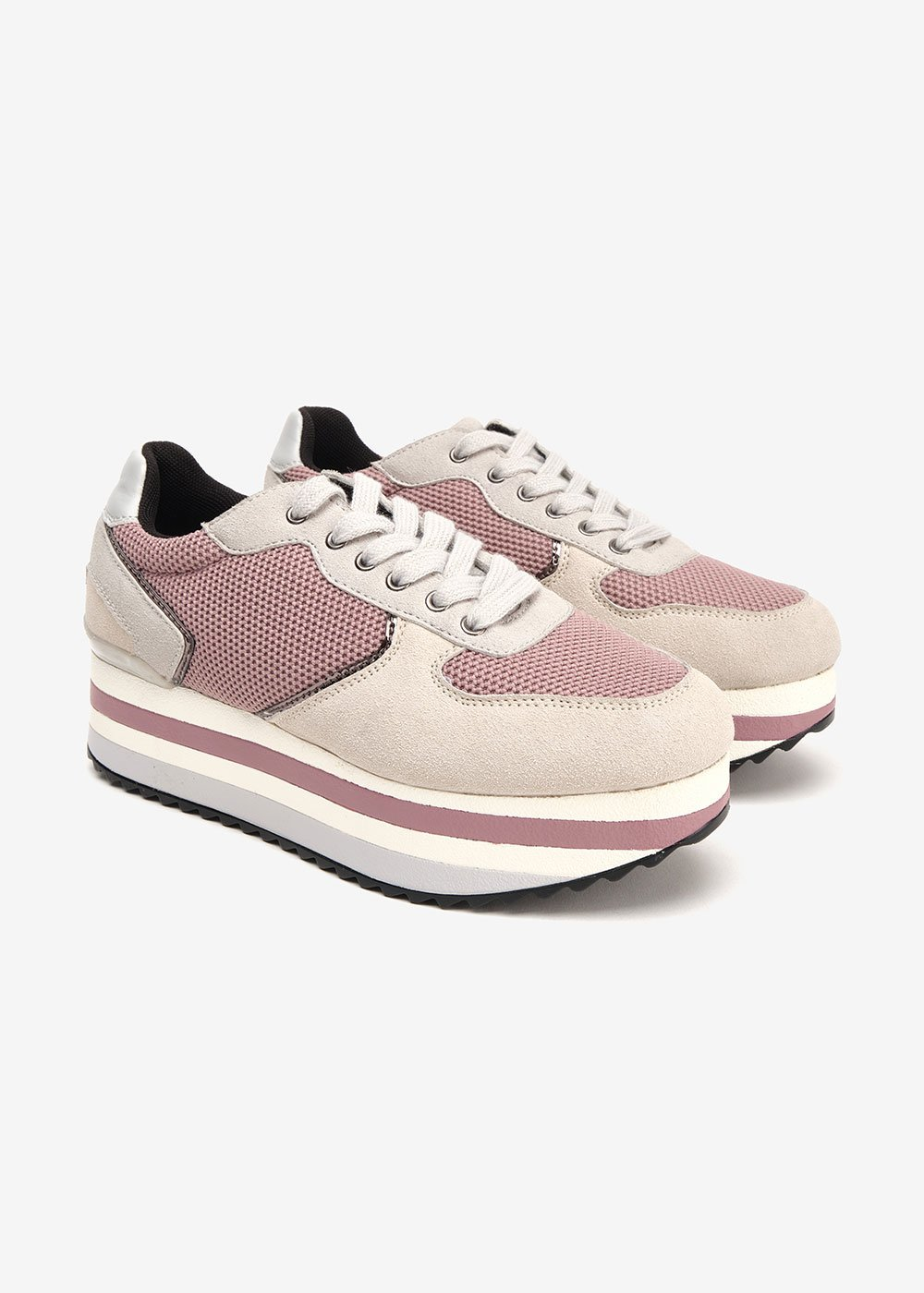 Snappy sneakers with coloured crepe soles - Grey / Malva - Woman