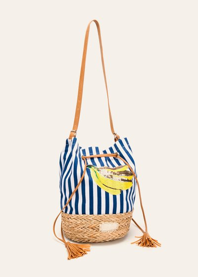 Blank cotton and straw bucket bag
