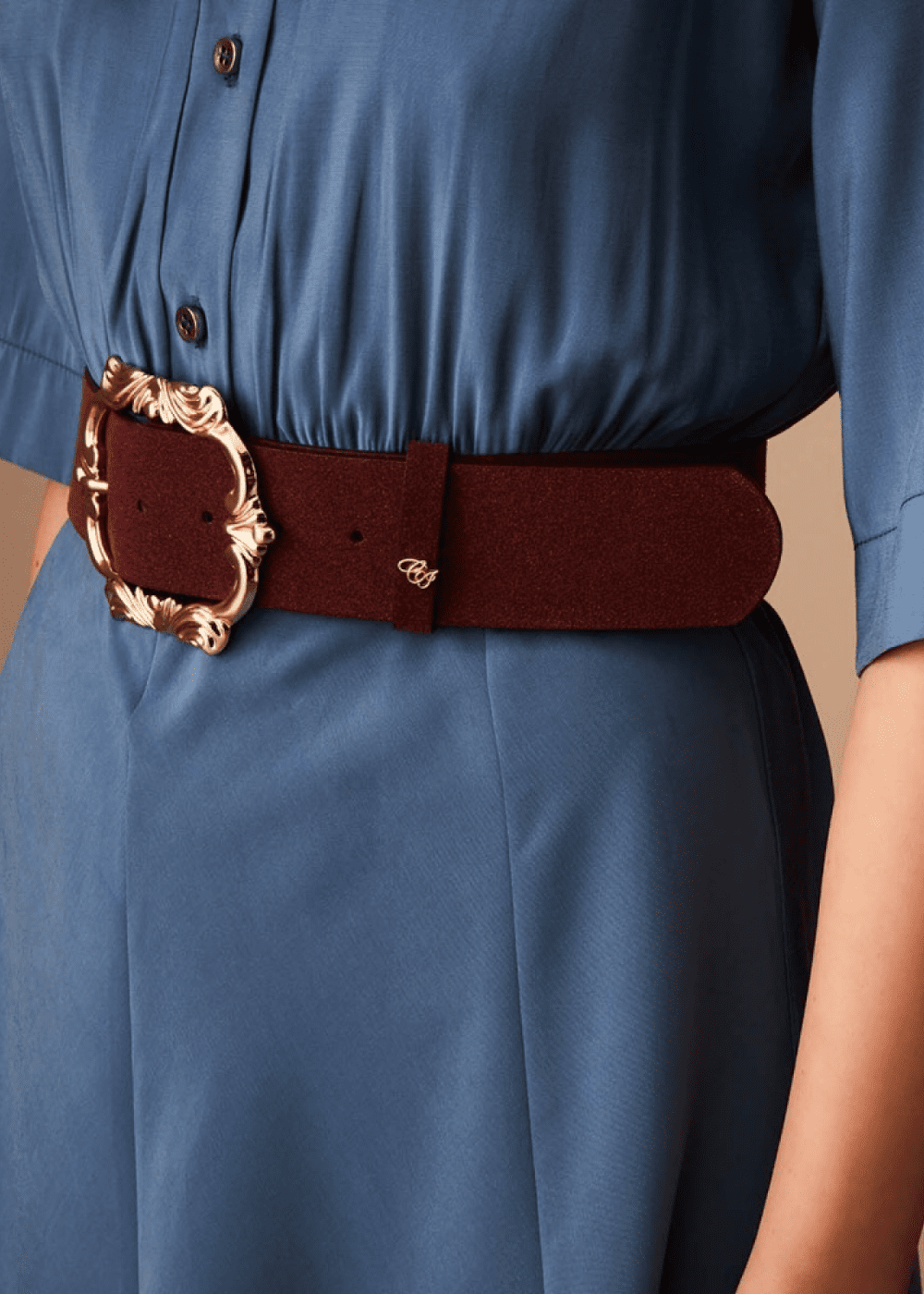 Cadyl belt with baroque buckle - Melenzana - Woman