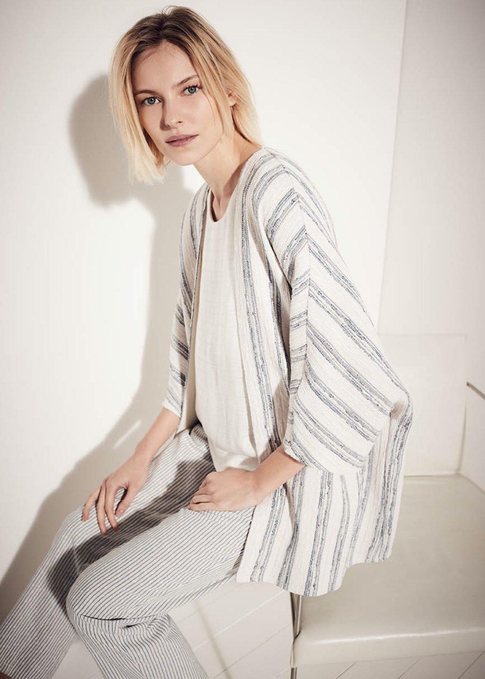 Sara pinstripe kimono shrug - Brezza /  Avion Stripes - Woman