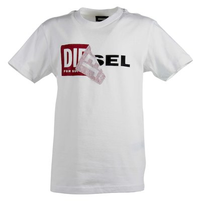 White double logo cotton jersey t-shirt