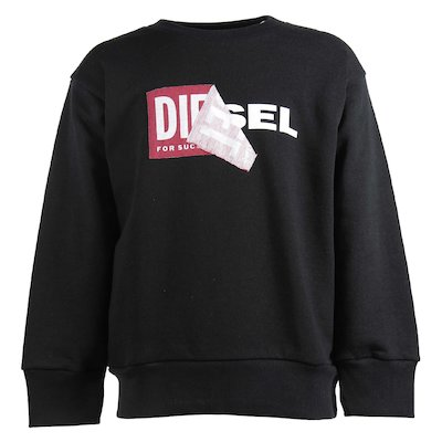 Black double logo cotton sweatshirt