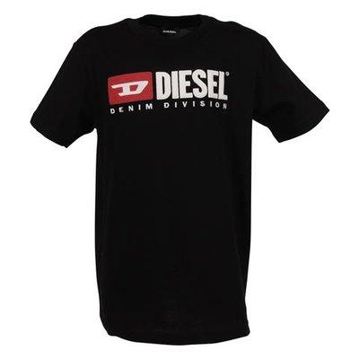 T-shirt nera in jersey di cotone con logo anni