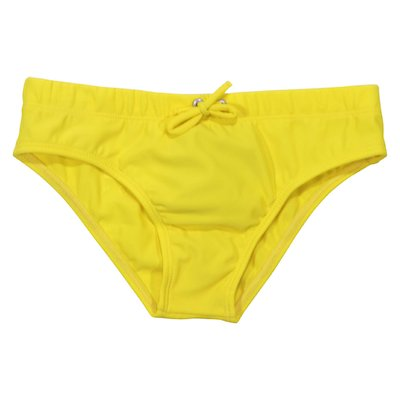 Logo detail yellow swim lycra briefs