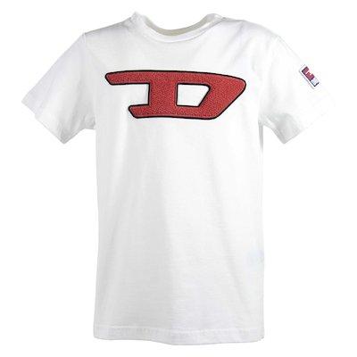 T-shirt bianca in jersey di cotone con dettaglio logo