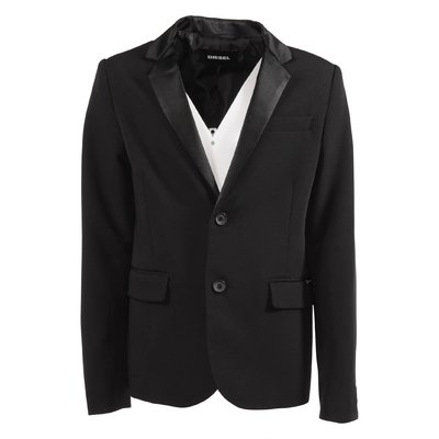 Black techno fabric elegant jacket
