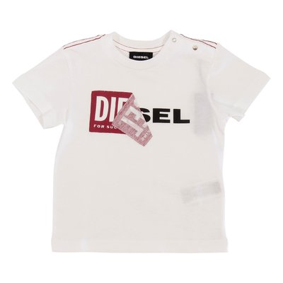 DIESEL white logo detail cotton jersey t-shirt