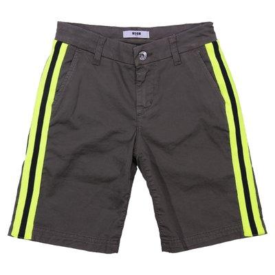 MSGM military green boy cotton gabardine shorts
