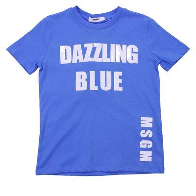 T-shirt azzurra in jersey di cotone