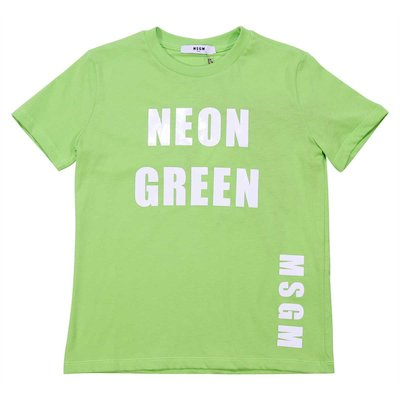 Fluo green cotton jersey t-shirt