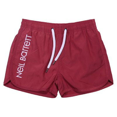 Red nylon swimshorts