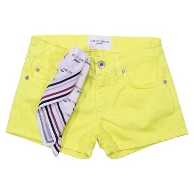 Shorts gialli in denim di cotone