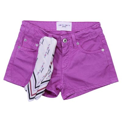 Shorts fucsia in denim di cotone