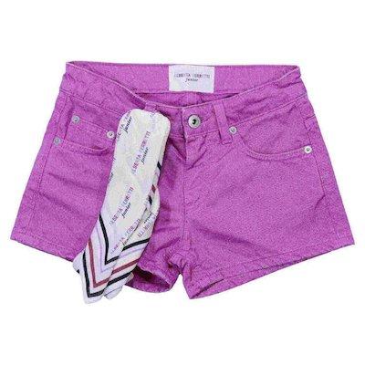 Shorts fucsia in denim di cotone