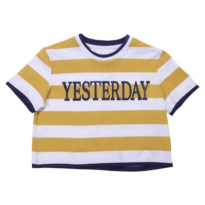 White and yellow striped cotton jersey t-shirt