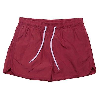 Red nylon swimshorts
