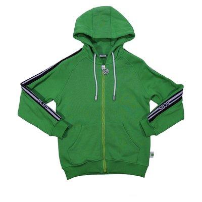 Felpa verde in cotone con cappuccio