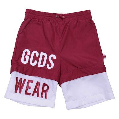 White & red nylon boy swim shorts